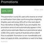 20% off Uber X Plus