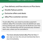 1 Year eBay Plus Subscription $1 (Normally $49) @ eBay