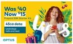 Optus $40 SIM Starter Kit for $15 @ Groupon