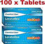 100x Chemists' Own Loratadine 10mg (Generic Claratyne) $17.99 Delivered @ PharmacySavings.com.au