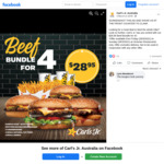 [VIC] Beef Bundle for 4: 4 Burgers, 4 Small Drinks, 4 Small Natural Cut Fries for $28.95 @ Carl's Jr