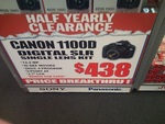 Canon EOS 1100D DSLR Camera Black – Single Lens 18-55mm & 8GB SDHC Card $438 (Vic) Harvey Norman