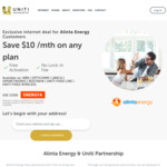 $10 off/Month Internet for Alinta Energy Customers Who Signup for Uniti nbn, OptiComm, LBNCo, OPENetworks, Redtrain @ Uniti