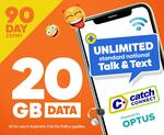 Catch Connect 90 Days 20GB Unlimited Mobile Plan $15.00 Delivered @ Catch