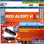 SanDisk 64GB Cruzer Glider USB Flash Drive $34.95 @iiBuy (One Hour Only 21/08 1-2pm)