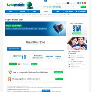 Lycamobile Unlimited National Calls and SMS with 5GB Data