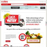 $10 off $60 Spend ($20 off $100 Spend for New Customers) with Click & Collect @ Coles Online