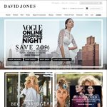 Save 20% on Full-Priced Mens & Womens Fashion, Shoes, & Accessories @ David Jones (Vogue Shopping Night)