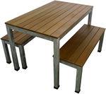 Beer Garden Outdoor Furniture 1200 Galvanised Steel Timber Bench Setting $750 (Was $825) @ Swan Street Sales