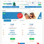 $7.90/28 Days Lycamobile 3+3GB National Plan S, Free Calls to National Numbers + 10 International Destinations * Normally $29.90