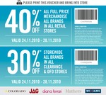 30 or 40% off All Brands in Colorado, Jag, Diana Ferrari, Mathers, and Williams Retail Stores