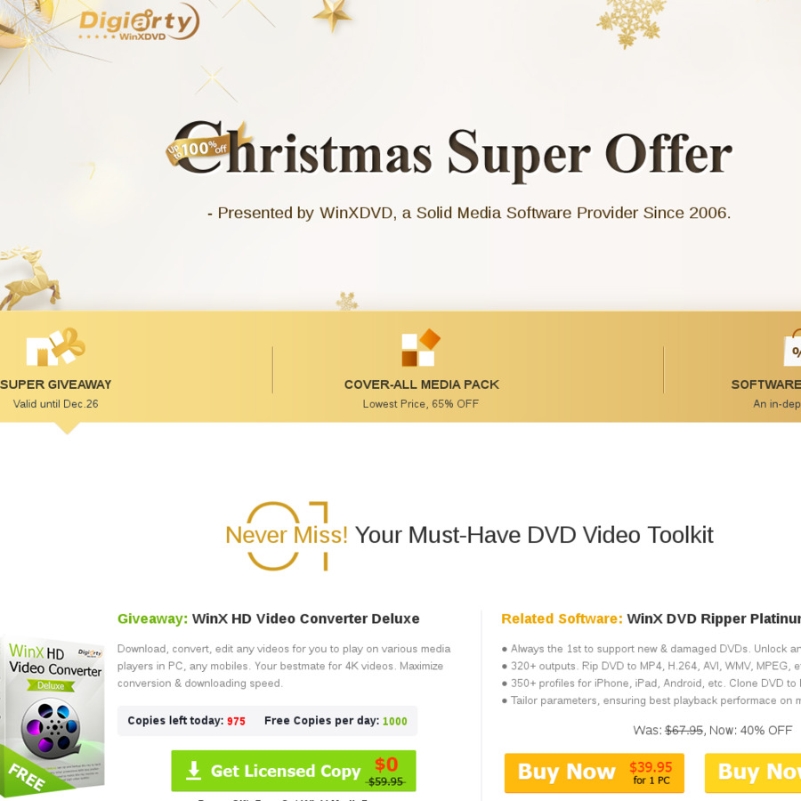 WinX HD Video Converter Deluxe Christmas Giveaway - 1K Free