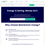 [VIC] Get $100 Welcome Credit When you Switch Both Gas and Electricity to Momentum Energy - VIC Only