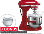 KitchenAid Bowl Lift Stand Mixer (KPM5) Red/White with Bonus Ice Cream Bowl Attachment - $399 (RRP $949) + Delivery @ Kogan