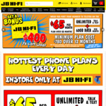Telstra $65pm for 12m with 60GB Data & $400 JB Gift Card @ JB Hi-Fi