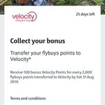 Transfer Your Flybuys to Velocity and Receive 100 Bonus Velocity Points