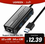 UGREEN 3 Ports USB 3.0 HUB with 1000Mbps Network Adapter US$14.69 (~A$20.23) Delivered @ Ugreen AliExpress