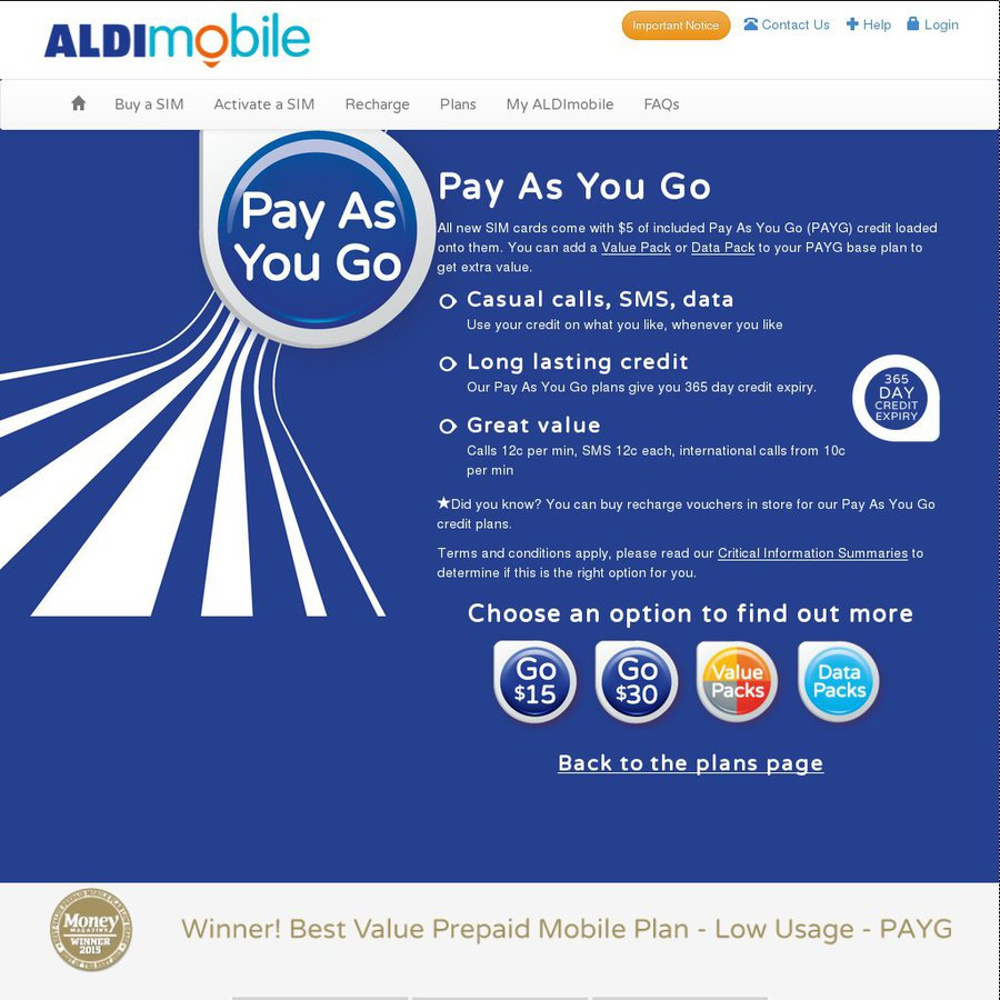 Aldi Mobile - Pay as You Go - $5 for 365 Days - with $5