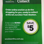 Woolworths Online $5 off $50 Click & Collect @ Bondi Junction Station (NSW)
