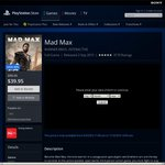 Mad Max PS4 for $39.95 @ AU PSN was $99.95
