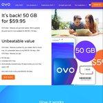 Ovo Mobile 50GB Mobile Data for $59.95 Per Month
