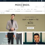 20% off Everything at Moss Bros. Includes Suits, Shirts, Trousers & Shoes