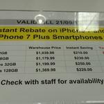 iPhones- 7 & 7 Plus 32 GB- $830, $950, 7 & 7 Plus  128 GB $950, $1150 @ Costco (Membership Required)