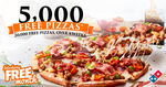 5,000 Free Pizzas (18th Sept) 20,000 Pizzas for Next 4 Weeks @ Domino's - Facebook Required