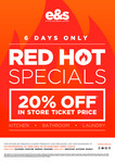 [VIC] 20% off in Store Ticket Price Kitchen Bathroom and Laundry @ E&S [VIC - in Store]