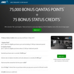 ANZ Frequent Flyer Black Credit Card with Bonus 75,000 Qantas Points + 75 Status Points + $0 Annual Fee for First Year