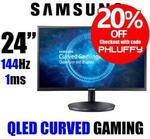 "Samsung 24"" QLED Curved 144Hz Gaming Monitor 1ms FreeSync $302 Delivered @ Online Computer eBay"