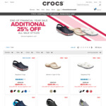 Extra 25% off All Crocs Sale Items + Free Shipping + 15% Cashback