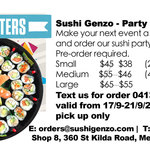 [VIC] Sushi Party Platter 15% off (from $38) Pre-Order Sale 13-28 September @ Sushi Genzo Melbourne