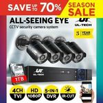 UL-TECH 4 Channel 1080P Home Surveillance DVR Kit with 1TB HDD and 4 Wired Cameras $80.65 Delivered @ Ozplaza Living eBay