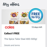 The Spice Tailor Daal 400-500g Free @ Coles Flybuys App