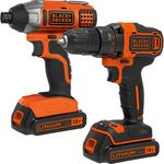 Black & Decker Cordless Drill Driver & Impact Driver Kit - 18V - $84.40 + Delivery (Free C&C) @ Supercheap Auto