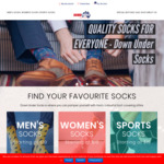 20% All Socks: Men's Women's Sports / Free Delivery for Order over $40 @ Down Under Socks