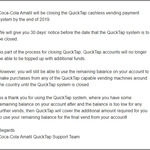 Coca Cola QuickTap Vending Machine Payment System Shutdown - Use Remaining Balance (>= $0.01) for Any Vending Machine Drink