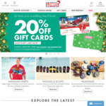 20% off Lowes Gift Cards
