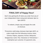 $5 off When You Order from Independent Asian Restaurants @ Menulog (4pm-6pm AEST Only)