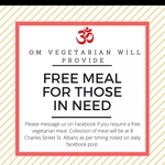 [VIC] Free Meals for Those in Need @ Om Vegetarian, St Albans