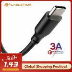 CABLETIME 3A USB Type-C Cable 0.25m US$0.65 (~A$0.93), US$1.09 (~A$1.56) Delivered @ Cabletime AliExpress