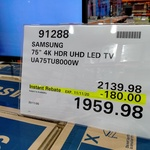 "[QLD] Samsung 75"" HDR LED TV UA75TU8000W $1958.58 @ Costco, North Lakes (Membership Required)"