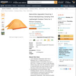 15% off Naturehike Upgraded Cloud Up Tents (1, 2, 3 Persons) Delivered @ Naturehike Official via Amazon AU