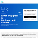 [NSW, VIC] Up to $400 Bill Credit (Min 2yr) + Up to $200 Woolworths Gift Card When You Switch Electricity+Gas to AGL via Econnex