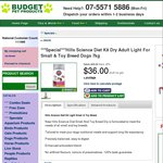 Science Diet K9 Dry Adult Small/Toy Breed Dog 7kg @ Budget Pet Products $36 + $14 Shipping