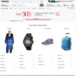 Amazon 30% off $100 Select Clothes, Shoes, Watches, Luggage Sold and Shipped by Amazon