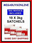 Auspost 3kg Satchels: 10 X Express $134 or 10 X Regular $121.50 (+ $50 eBay Voucher with C&C)