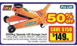 Pro-Lift 2000kg Speedy Lift Garage Jack $149 (Save $150) @ Repco