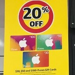 20% off iTunes Gift Cards $30, $50, $100 @ Coles Express National